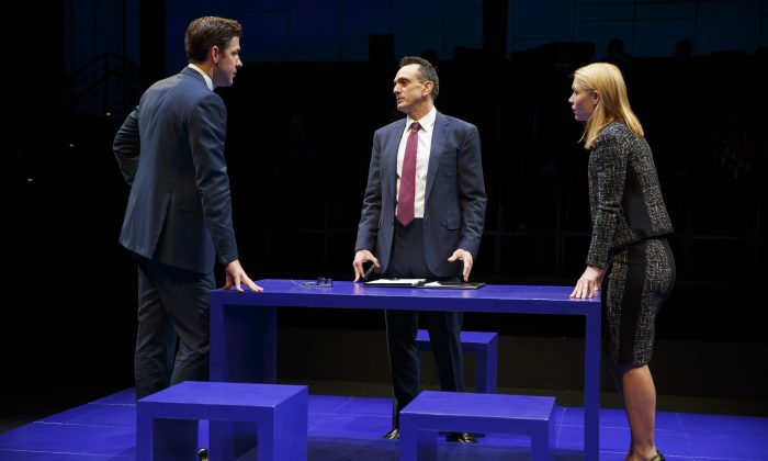"""(L–R) Seth (John Krasinski), Rick (Hank Azaria), and Jenny (Claire Danes).  Rick likes to hear opposing viewpoints from his KMM Capital Management staff, Seth and Jenny, in """"Dry Powder,"""" written by Sarah Burgess. (Joan Marcus)"""