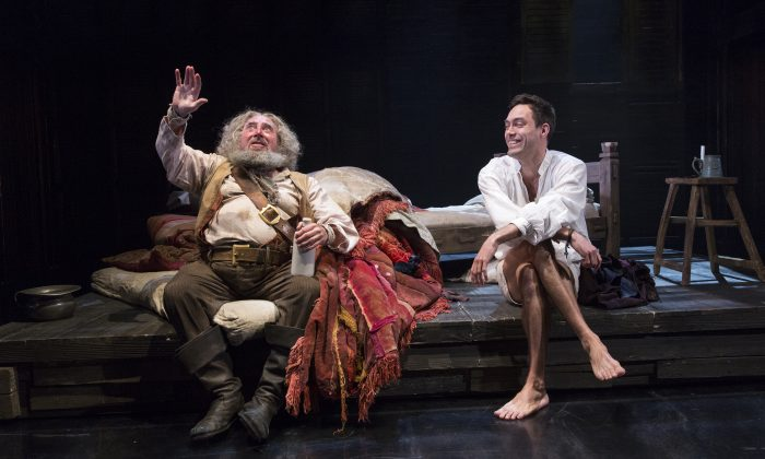 """(L–R) Antony Sher as Falstaff and Alex Hassell as Prince Hal in Shakespeare's """"Henry IV Part II,"""" part of the series of four plays the Royal Shakespeare Company has mounted at the Brooklyn Academy of Music. (Richard Termine)"""