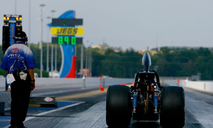 A general view from behind the starting line as a top alcohol dragster waits to make his run during the finals for the NHRA Carolinas Nationals at the Zmax Dragway on September 14, 2008 in Concord, North Carolina. (Rusty Jarrett/Getty Images)