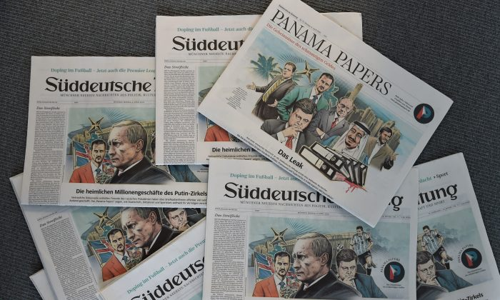 """The German newspaper Sueddeutsche Zeitung dated April 4, 2016, reporting on the so-called """"Panama Papers,"""" in Munich, Germany, on April 7, 2016. (Christof Stache/AFP/Getty Images)"""