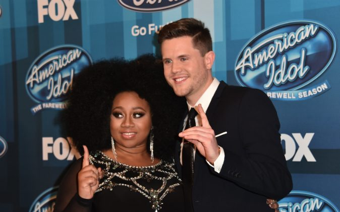 ingers La'Porsha Renae (L) and Trent Harmon attend FOX's 'American Idol' Finale For The Farewell Season at Dolby Theatre on April 7, 2016 in Hollywood, California. (Photo by Alberto E. Rodriguez/Getty Images)