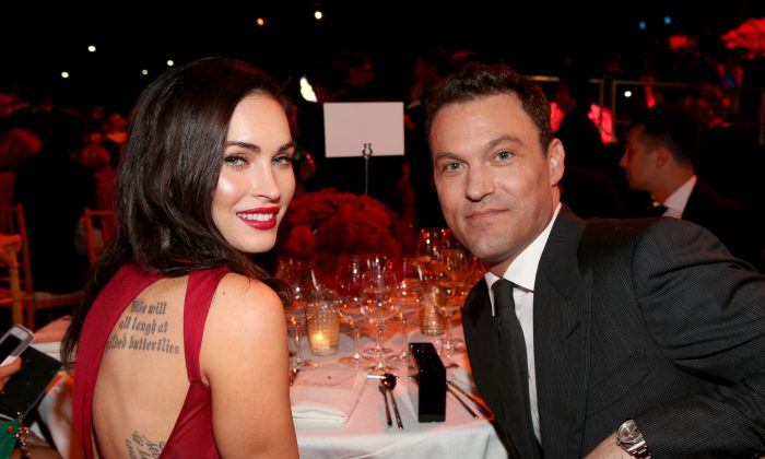 Actors Megan Fox and husband Brian Austin Green attend Ferrari Celebrates 60 Years In America on October 11, 2014 in Los Angeles, California.  (Jonathan Leibson/Getty Images)