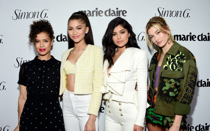 (L-R) Actors Gugu Mbatha-Raw, Zendaya, tv personality Kylie Jenner and model Hailey Baldwin attend the 'Fresh Faces' party, hosted by Marie Claire, celebrating the May issue cover stars on April 11, 2016 in Los Angeles, California. (Frazer Harrison/Getty Images for Marie Claire)