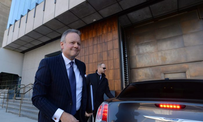 Bank of Canada governor Stephen Poloz arrives for his press conference in Ottawa on April 13, 2016. The central bank remains ready to act should the economic outlook deteriorate. (The Canadian Press/Sean Kilpatrick)