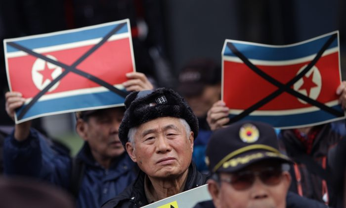 South Korean protesters attend an anti-North Korea rally in Seoul, South Korea, on Feb. 11, 2016.  (Chung Sung-Jun/Getty Images)