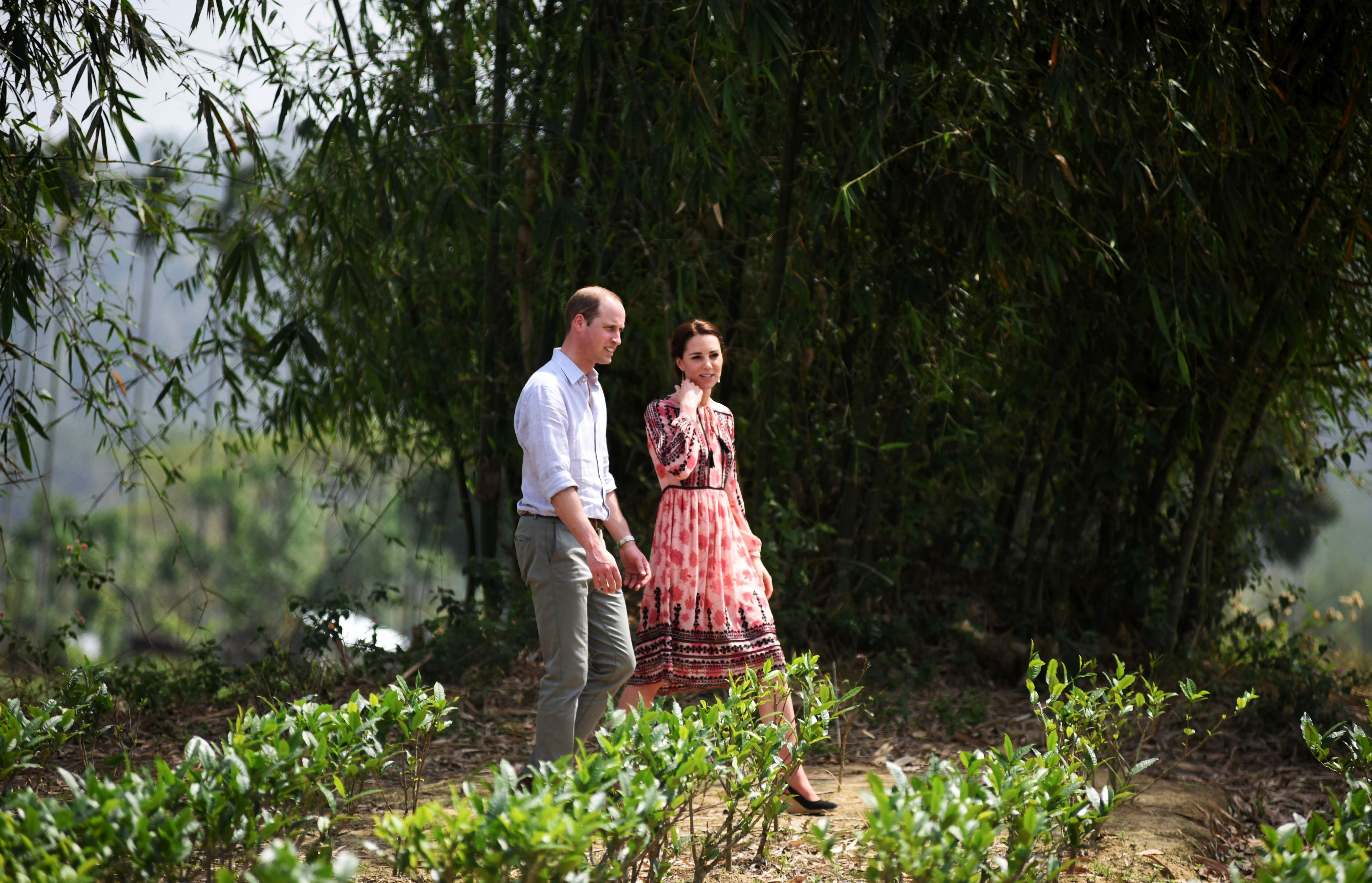 Britain's Prince William, Duke of Cambridge and Catherine, Duchess of Cambridge visit a village tea garden in Kaziranga, India's Assam State, on April 13. (BIJU BORO/AFP/Getty Images)