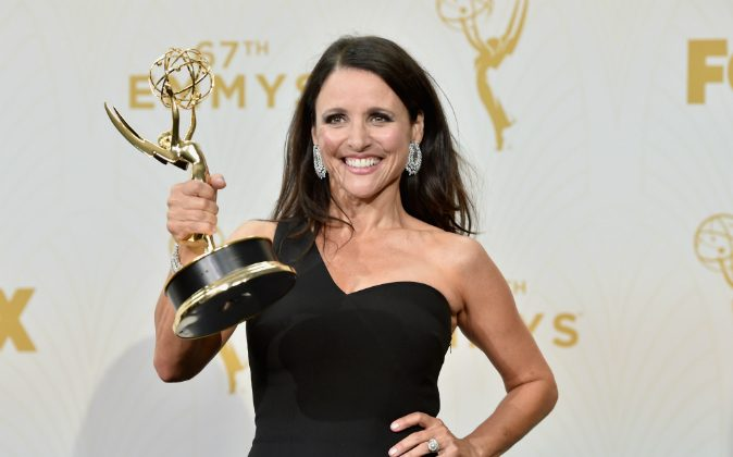 Actress Julia Louis-Dreyfus, winner of Outstanding Lead Actress in a Comedy Series for 'Veep',at the 67th Annual Primetime Emmy Awards at Microsoft Theater on September 20, 2015 in Los Angeles, California. (Photo by Alberto E. Rodriguez/Getty Images)