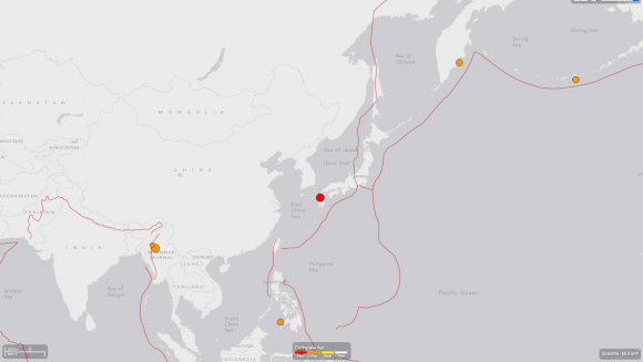 A map from the US Geological Society shows recent earthquakes around the world. This map shows the red dot on southern Japan after the 6.2 earthquake on April 14. (Courtesy of USGS)
