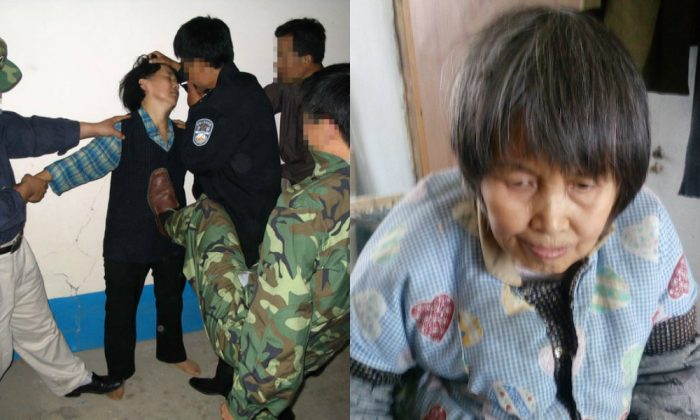 (L-R) Reenactment of torture a Falun Gong practitioner faces in China. Liu Xia is disabled after seven years of torture. (Minghui.org)