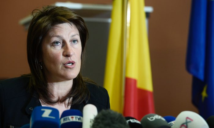 Belgian Minister of Mobility Jacqueline Galant speaks during a press conference, in Brussels, on April 15, 2016. (Dirk Waem/AFP/Getty Images)