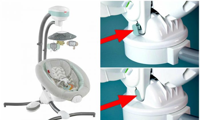 Left: Fisher-Price CMR40 Sweet Surroundings Cradle 'n Swing; R-Top: Seat peg that is not fully engaged to the seat; R-Bottom: Seat Peg properly engaged to the seat. (The U.S. Consumer Product Safety Commission)