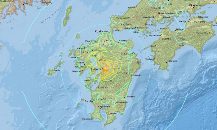 Location of the 7.0 earthquake that hit Japan on April 15, 2016. (earthquake.usgs.gov)