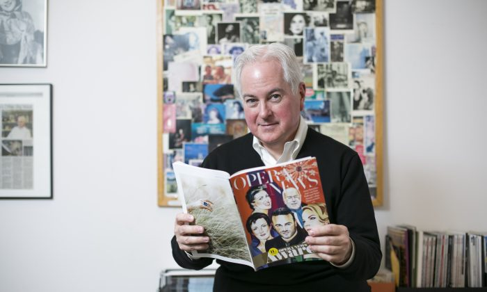 F. Paul Driscoll, editor in chief of Opera News, talks about cultural changes and current challenges impacting the world of opera at his office in Lincoln Center, New York, on March 21, 2016. (Samira Bouaou/Epoch Times)