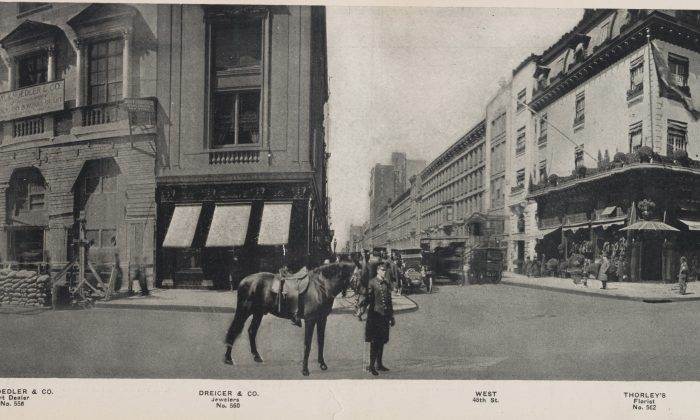 Busy bussiness area around West 46th Street, with a florist, jeweler, art dealer or women's apparel importer. (NYPL)