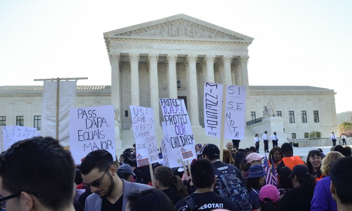 WASHINGTON, DC - APRIL 18: Protestors attend the Fight For Families Rally in front of the Supreme Court of the United States on April 18, 2016 in Washington, DC. (Photo by Kris Connor/Getty Images)