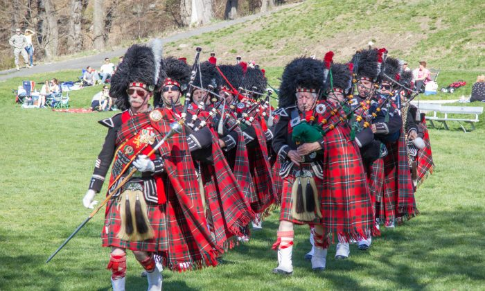Rochester Scottish Pipes and Drums with the Hudson River in the background during the 34th Annual Military Tattoo at West Point on April 17, 2016. (Kathryn Woodside)