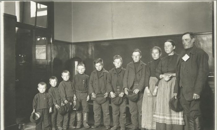 A family of seven sons and one daughter, country o origin unknown, 1904. (Sherman, Augustus F. /NYPL)