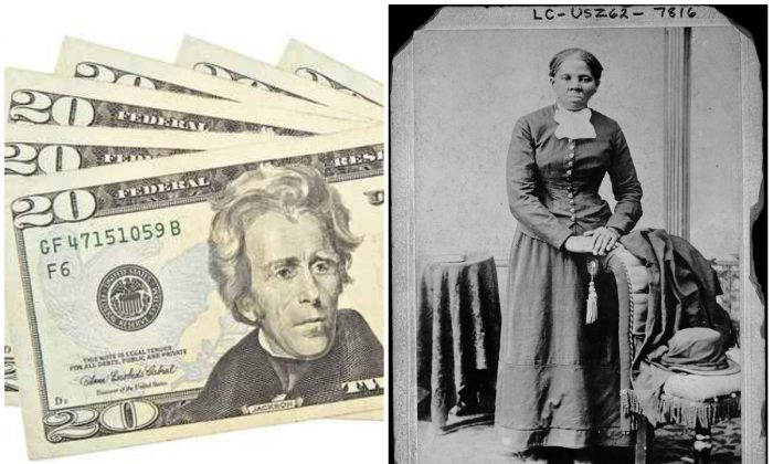 Current US $20 bill (Fotolia/AP images) and Harriet Tubman. (Library of Congress)