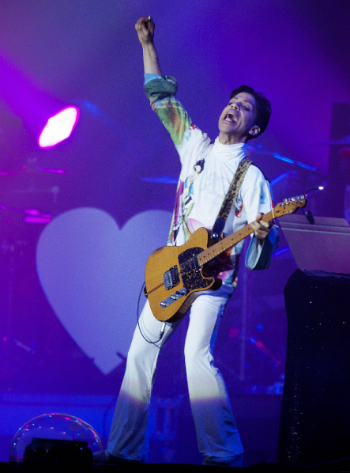 Rock artist Prince performs at Roskilde Festival in Roskilde, Denmark, on Sunday July 4, 2010. (AP Photo / Tariq Mikkel Khan, POLFOTO)