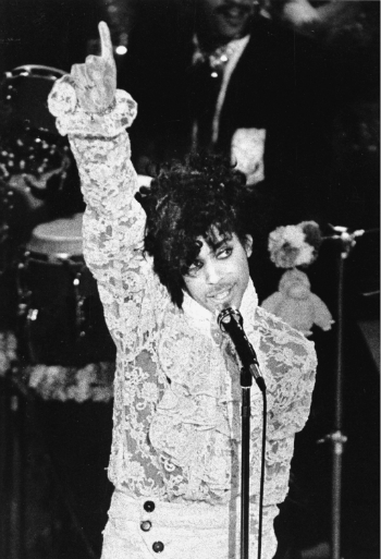 Rock singer Prince performs during the 27th annual Grammy Awards at the Shrine Auditorium in Los Angeles, Ca., Feb. 27, 1985. Prince received three Grammys. (AP Photo/Liu Heung-Shing)