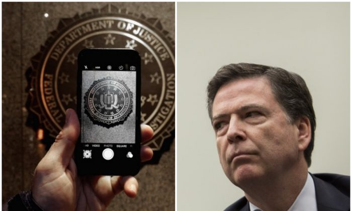 An iPhone next to FBI Director James Comey. (Drew Angerer/Getty Images and Chip Somedevilla/Getty Images)