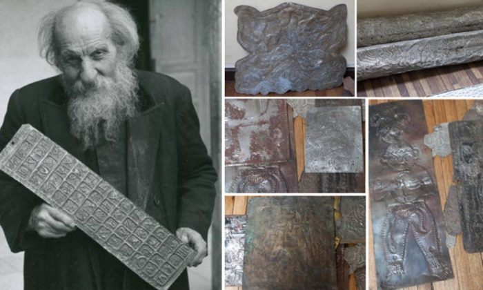 Father Carlos Crespi Croci, a Salesian monk in Ecuador, with strange artifacts he acquired. (Ancient-Origins.net)