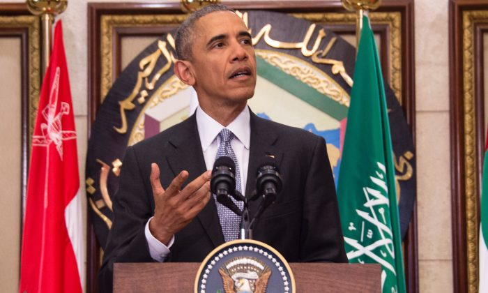 President Barack Obama delivers a speech following a U.S.-Gulf Cooperation Council Summit in Riyadh on April 21, 2016. (Jim Watson/ AFP Getty Images)    / AFP / Jim Watson        (Photo credit should read JIM WATSON/AFP/Getty Images)