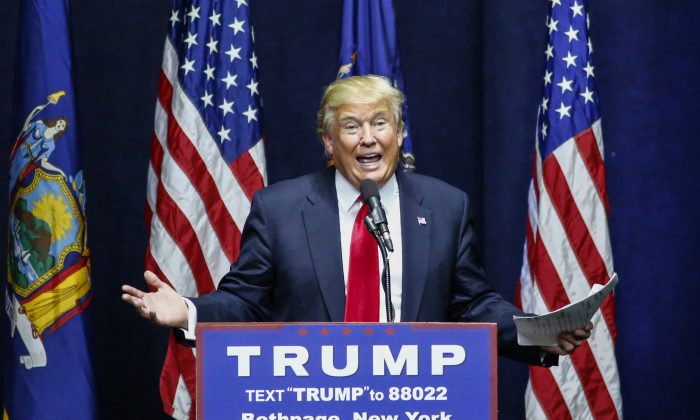 Republican presidential candidate Donald Trump addresses a rally in Bethpage, Long Island, N.Y., on April 6, 2016. (Kena Betancur/AFP/Getty Images)