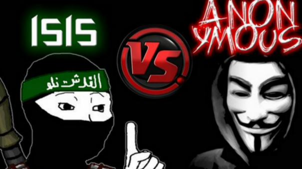 A graphic shows a figure representing the terrorist group ISIS facing off against the hacker collective Anonymous. Hackers with Anonymous and other groups have launched an initiative to counter ISIS called #OpISIS. (Anonymous)