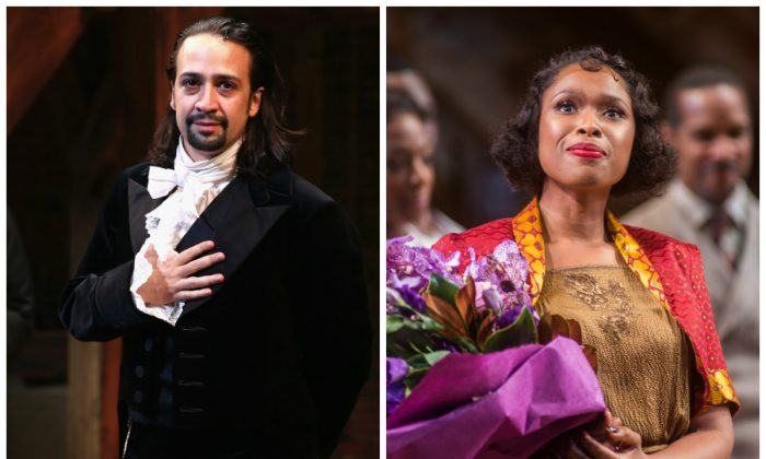 Lin-Manuel Miranda performs at 'Hamilton' Broadway Opening Night at Richard Rodgers Theatre on August 6, 2015 in New York City. (Photo by Neilson Barnard/Getty Images); Actress Jennifer Hudson attends the 'The Color Purple' Broadway Opening Night Curtain Call at The Bernard B. Jacobs Theatre on December 10, 2015 in New York City. (Photo by Mark Sagliocco/Getty Images)