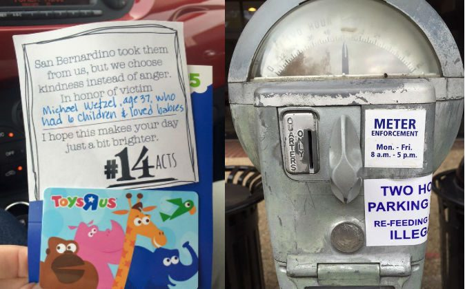 Left: A note Mandy Johnson wrote to go with a Toys R Us gift card she gave to a stranger, explaining the gift as a random act of kindness honoring a San Bernardino school shooting victim, Michael Wetzel, who had six children and loved babies. Right: A parking meter a friend of Mandy Johnson's topped up for a stranger as a random act of kindness. (Courtesy of Mandy Johnson)