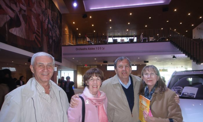 (L-R) Frank and Theresa Matys and Sid and Mary Zyla at Shen Yun at the Sony Centre in Toronto on April 23, 2016. (Dongyu Teng/Epoch Times)