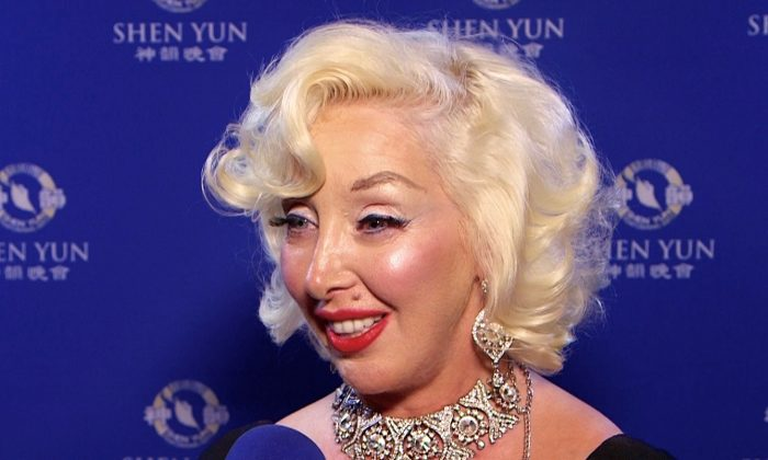 Kassandra Carrroll, tribute Artist of Marylin Monroe, after watching Shen Yun Performing Arts on the evening of April 24, 2016 at the Microsoft Theater in Los Angeles. (Courtesy of NTD Television)