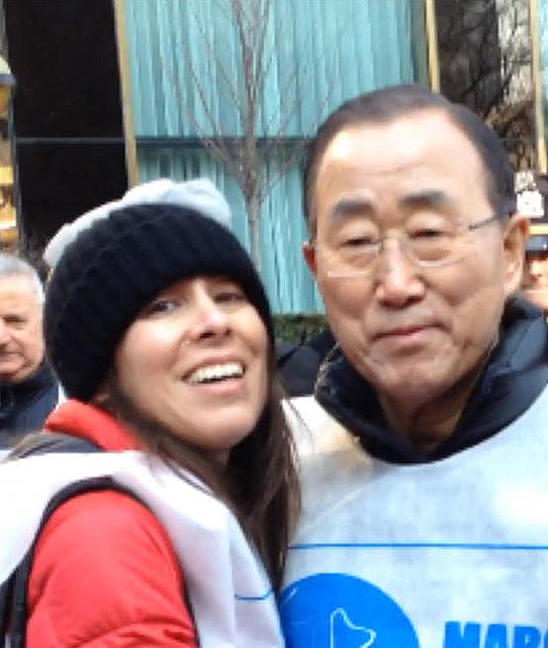 Dra. Luz Maria Utrera and U.N. Secretary General Ban Ki-moon at The International Women's Day at The Dag Hammarskjold Plaza in New York City on March 8, 2015. (LuzMariaFoundation.org)