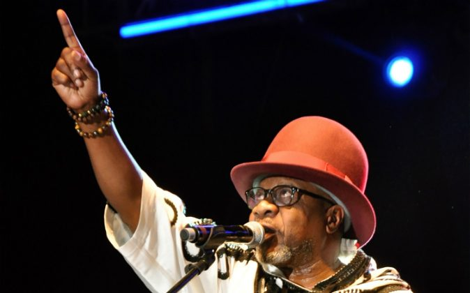 Congolese music star Papa Wemba performs during the Femua music festival in Abidjan on April 24, 2016 before collapsing on stage. (STR/AFP/Getty Images)
