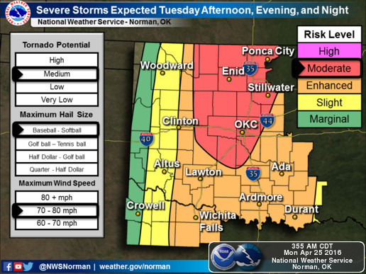 National Weather Service map showing areas in Oklahoma most likely affected by severe weather on April 26, 2016. (National Weather Service)