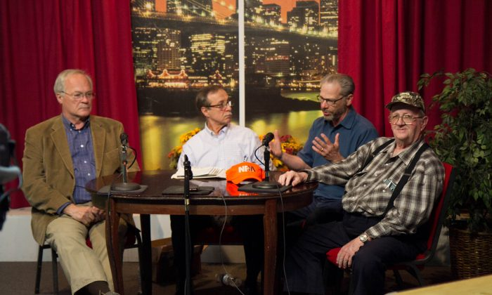"""Tom King, president of the New York State Rifle & Pistol Association, Inc.; Daniel """"Tony"""" Cea, Access 23 host of """"Voices of the People""""; George Rogero, owner of OCshooters.com, and Raymond Bowley, another show host at Access 23 during Cea's show in Port Jervis on April 25, 2016. (Holly Kellum/Epoch Times)"""
