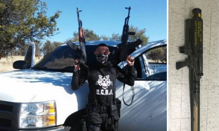 A member of a Mexican drug cartel poses with two kalashnikov rifles, and a photo of a captured Redeye MANPADS system are shown side-by-side. The images were recently released by the Mexican attorney general. (For Public Distribution/via Small Wars Journal)