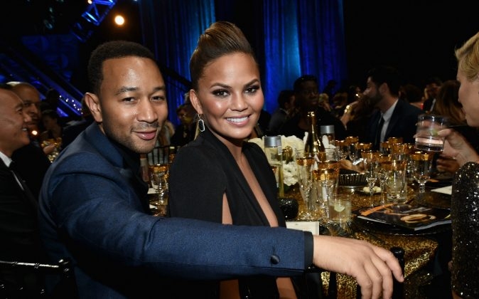 Recording artist John Legend (L) and model Chrissy Teigen attend The 42nd Annual Daytime Emmy Awards at Warner Bros. Studios on April 26, 2015 in Burbank, California. (Michael Buckner/Getty Images for NATAS)