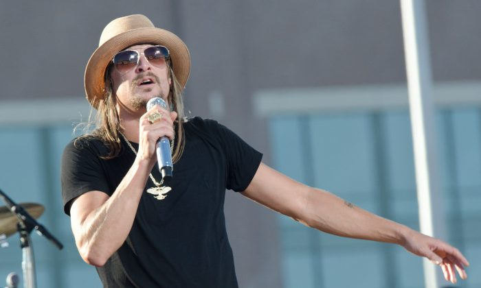 Kid Rock performs during the 2011 NFL Kickoff concert at Lambeau Field on September 8, 2011 in Green Bay, Wisconsin. (Photo by Daniel Boczarski/Getty Images)