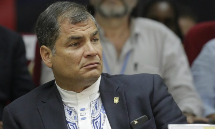Ecuador's President Rafael Correa attends the closing ceremony of the Peoples Summit at the University of Panama in Panama City on April 11, 2015. (Inti Ocon/AFP/Getty Images)