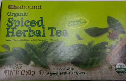 Gold Emblem Abound Organic Spiced Herbal Tea. (The U.S. Food and Drug Administration)