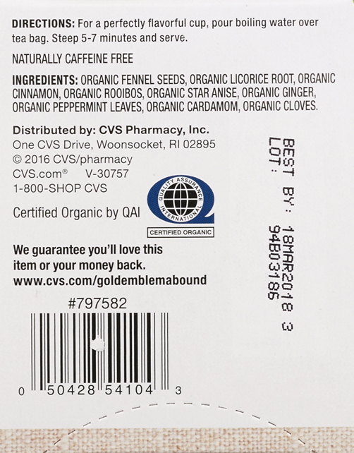 The label of the Gold Emblem Abound Organic Spiced Herbal Tea. (The U.S. Food and Drug Administration)