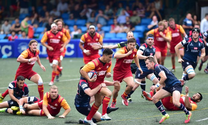 Waikato Chiefs Development team push forward in their friendly match with Hong Kong at the Hong Kong Football Club on Saturday April 23, 2016. Chiefs went on to win 38-6 with a blistering last quarter of the match. (Bill Cox/Epoch Times)