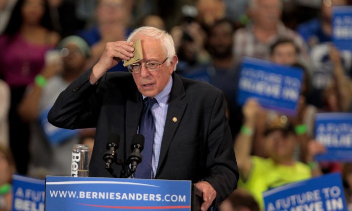 Democratic presidential candidate Bernie Sanders addresses the crowd during a campaign rally at the Big Sandy Superstore Arena,  April 26, 2016 in Huntington, West Virginia.   (Photo by John Sommers II/Getty Images)