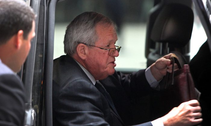 CHICAGO, IL - APRIL 27: Former House Speaker Dennis Hastert arrives at the Dirksen Federal Court House for his hush-money case sentencing on April 27, 2016 in Chicago, Illinois. Hastert faces up to 5 years in prison after pleading guilty for breaking banking laws as he sought to pay a man only known as Individual A, millions of dollars in hush-money to keep past misconduct quiet for alleged sexual abuse. ( Photo by Joshua Lott/Getty Images)