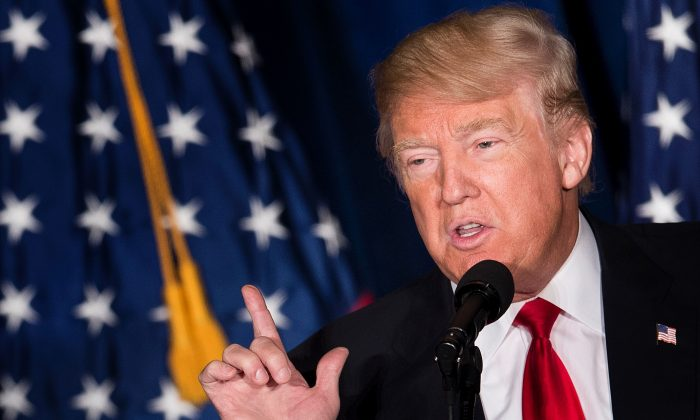 Republican presidential candidate Donald Trump delivers a foreign policy speech at the Mayflower Hotel in Washington, D.C., April 27, 2016. (Brendan Smialowski/AFP/Getty Images)