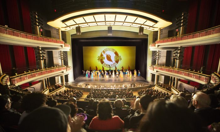 Shen Yun performers take a curtain call on opening night at the Living Arts Centre, April 26, 2016. (Evan Ning/Epoch Times)