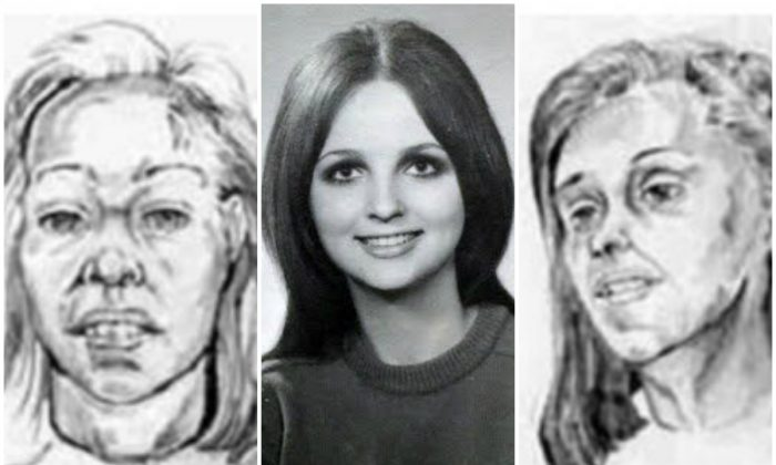 Two police sketches flank a photo of Reet Jurvetson. (Courtesy of Anne Jervetson)