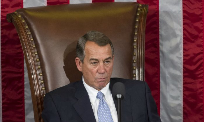 Outgoing Speaker John Boehner, Republican of Ohio, sits in the Speaker's chair for the final time as Speaker in the House Chamber at the US Capitol in Washington, DC, October 29, 2015. (SAUL LOEB/AFP/Getty Images)